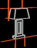 Grote messing tafellamp op pootjes met exclusieve roomwitte plooikap _
