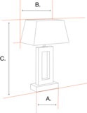 Staande messing lamp in hoogte verstelbaar met zwenkarm incl. handgemaakte lampenkap vierkant rood_