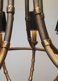 messing kroonluchter hanglamp met zwarte kapjes