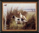 Schilderij canvasdoek met 2 honden in het veld _