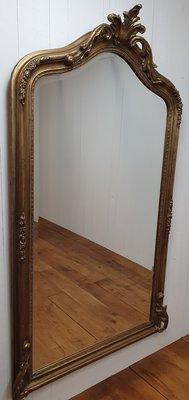 Franse Brocante spiegel in gouden lijst