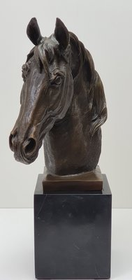Paardenhoofd van brons op sokkel