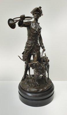 Groot zwaar brons beeld Louis XV met hond