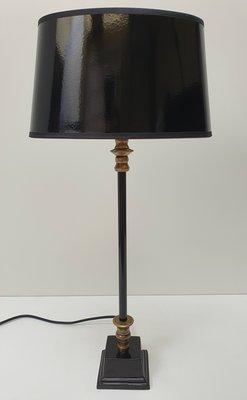 Klein smal tafellampje met zwart lak ovaal lampenkap