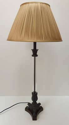 exclusieve lamp voor tafel van plexiglas met brass vintage stijl incl. geplooide lampenkap