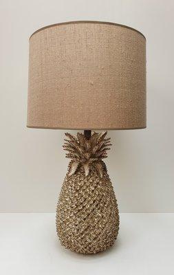 Ananas lamp keramiek met linnenlook zandkleurige lampenkap