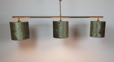 Hanglamp messing strak 3 hangkappen