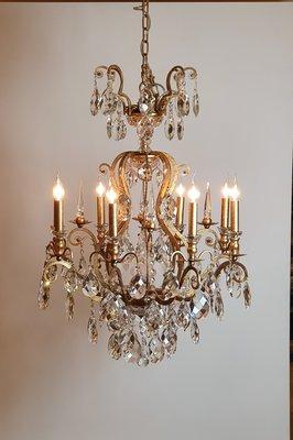 Kroonluchter kristal bladgoud en 8 kaarsen
