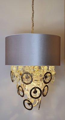 Kroonluchter met glazen en gouden ringen incl. cilincer lampenkap