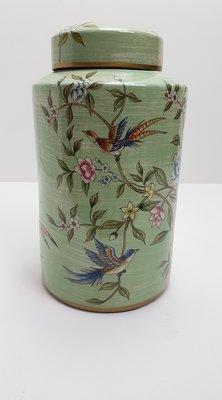 mintgroene pot met platte deksel met vogels op bloesemtak maat L