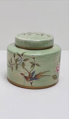 mintgroene pot met platte deksel en vogels op bloesemtak maat S