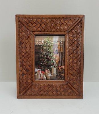 leren fotolijst cognac kleur gevlochten frame