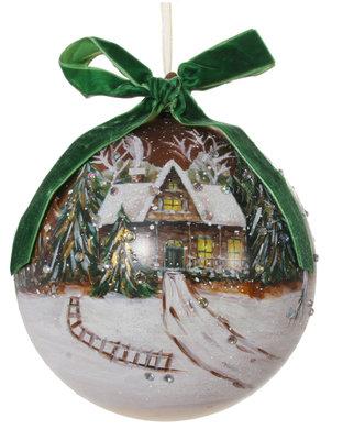 kerstbal van glas ø 15 cm mat goud en groen met huis geschilderd
