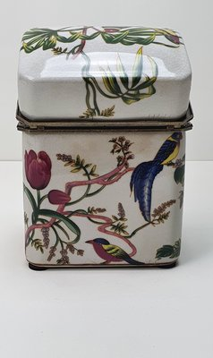 aardewerk hoge box craquelé met bloemmotief