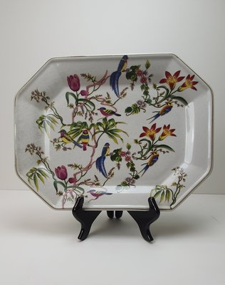 langwerpig bord met bloemmotief en vogels