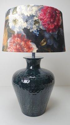 Tafellamp azurblauwe gepatineerde vaaslamp met gebloemde lampenkap velvet