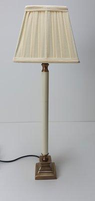 Tafellamp goud met roomwit incl. vierkant platte plooi kap