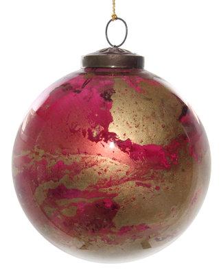 kerstbal van glas rood paars en goud gemarmerd Ø 12 cm