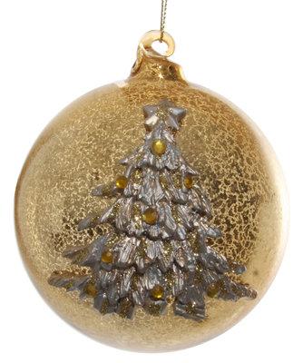 glazen kerstbal in antiek goud glitter met kerstboom