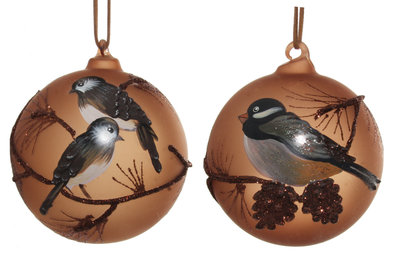 kerstbal met vogel