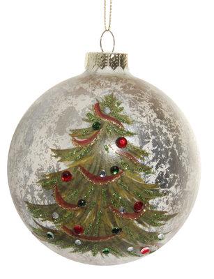 glazen kerstbal antiek champagne met kerstboom