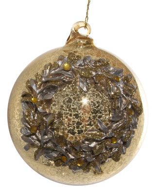 kerstbal van glas met krans goud glitter