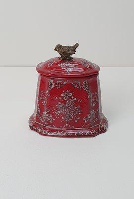 klein  rood potje aardewerk met deksel en messing brons vogel detail