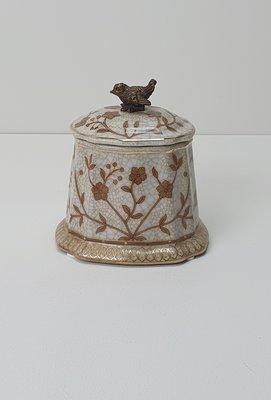 klein potje van aardewerk met deksel en vogeltje in brons messing