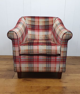 Fauteuil in Mulberry stof  ancient check