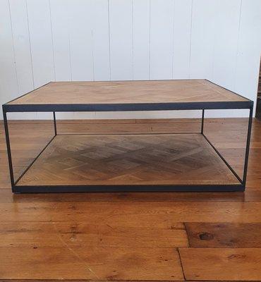 UITVERKOCHT!! salontafel vierkant met eiken parket inleg en stoer stalen frame in zwart industrieel uiterlijk