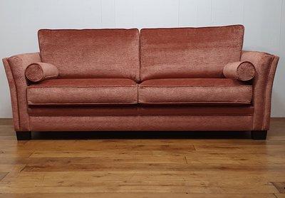3 zits sofa met paisley patroon in velour roest koraal rood kleur