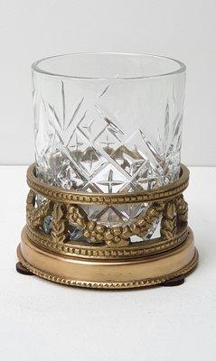 theelichthouder geslepen glas met messing houder