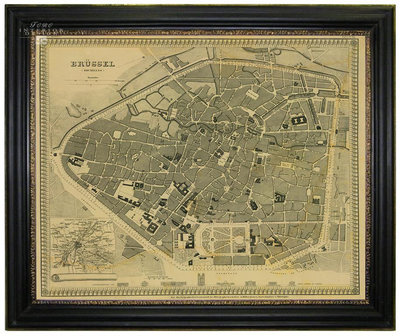 Map of Brussels in a frame