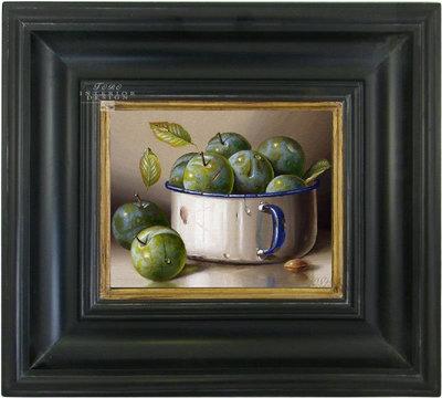 Schilderij canvas doek stilleven groene pruimen in kom oude druktechniek incl. lijst