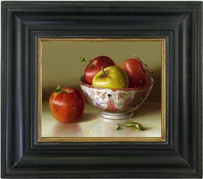 Schilderij canvas doek stilleven appels in een kom incl. lijst