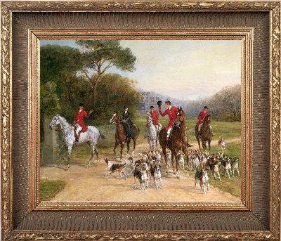 Canvas doek jachtsfeer met paarden ingelijst