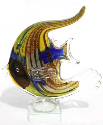 Vis van gekleurd glas blauw/geel/roest