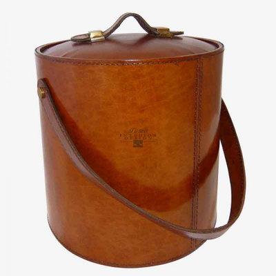 IJsblokjes koeler cognac van leer 21,5 cm