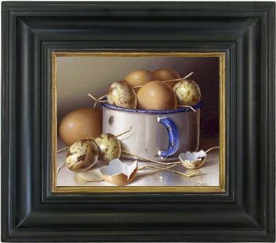 Eieren op canvasdoek incl. zwarte lijst