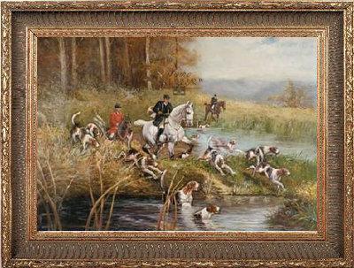 Canvas doek paarden jacht ingelijst