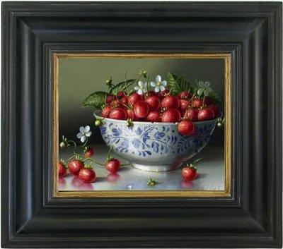 Schilderij canvas doek stilleven aardbeien in Chinese kom oude druktechniek incl. lijst