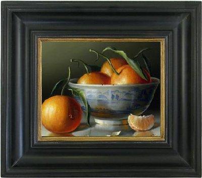 sinaasappel op canvasdoek stilleven in zwarte lijst