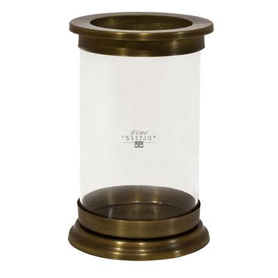 Messing windlicht cilinderglas hg. 38 cm