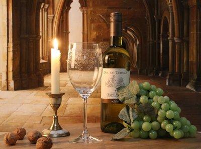 Set van 6 witte wijn glazen van geslepen glas