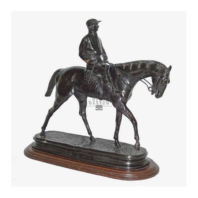 Brons beeld jockey te paard