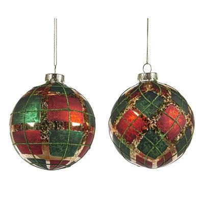 Kerstbal tartan groen rood goud 10 cm (p.s.)