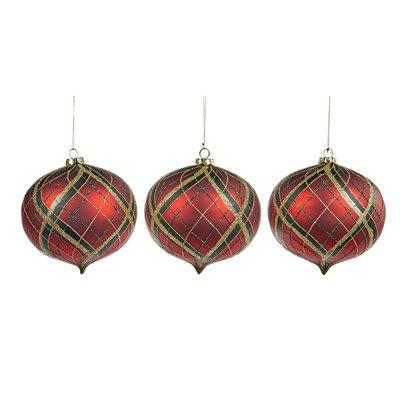 Kerstbal tartan rood 15 cm (p.s.)