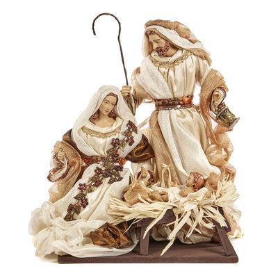 Holy Family set Jozef, Maria en kindje Jezus in kribbe goud met roomwit van kleur (35 cm)