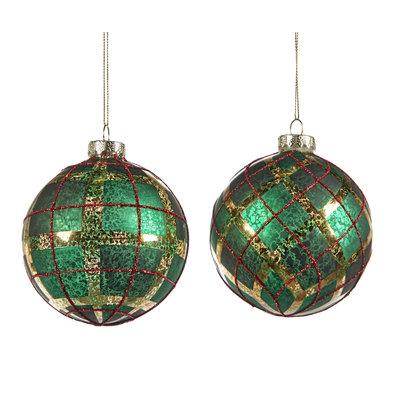 Kerstbal groen tartan 10 cm (p.s.)