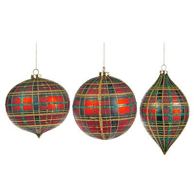 Kerstbal tartan rood met groen 15 cm (p.s.)